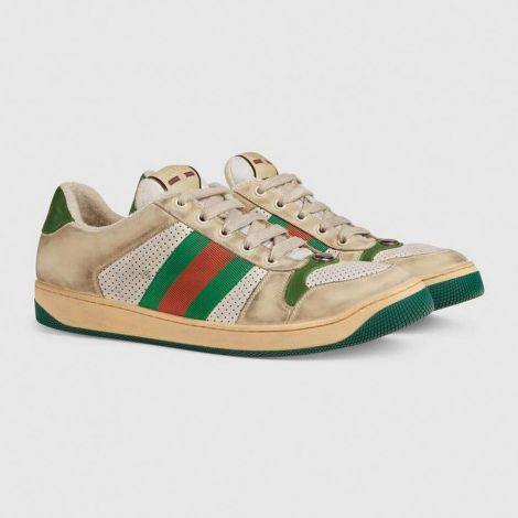 Gucci Ayakkabı Screener Beyaz - Gucci Ayakkabi 2020 Erkek Screener Leather Sneaker Beyaz