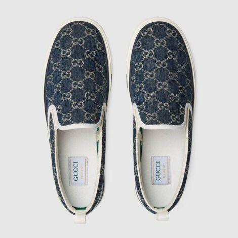 Gucci Ayakkabı Tennis 1977 Mavi - Gucci Ayakkabi 2021 Mens Gucci Tennis 1977 Slip On Sneaker Ivory Mavi
