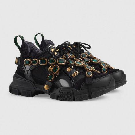 Gucci Ayakkabı Flashtrek Siyah - Gucci Ayakkabi Bayan Flashtrek Sneaker With Removable Crystals Siyah