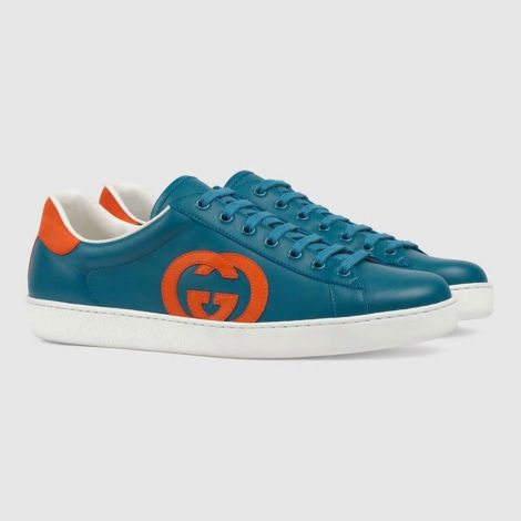 Gucci Ayakkabı Interlocking Mavi - Gucci Ayakkabi Erkek 21 Ace Sneaker With Interlocking G Mavi