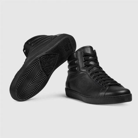 Gucci Ayakkabı Ace Siyah - Gucci Ayakkabi Erkek 21 High Top Ace Sneaker Siyah