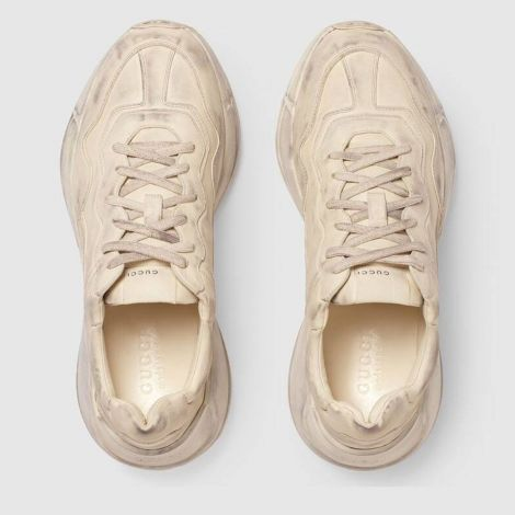Gucci Ayakkabı Rhyton Beyaz - Gucci Ayakkabi Erkek 21 Rhyton Leather Sneaker Beyaz
