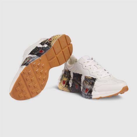 Gucci Ayakkabı Rhyton Beyaz - Gucci Ayakkabi Erkek 21 Rhyton Leather Sneaker With Tigers Beyaz