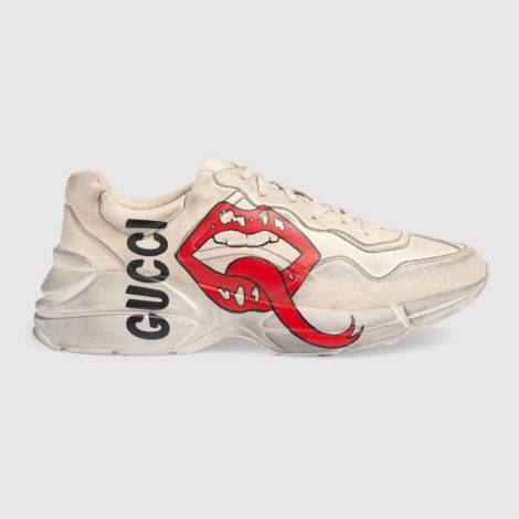 Gucci Ayakkabı Rhyton Beyaz - Gucci Ayakkabi Erkek Rhyton Sneaker With Mouth Print Beyaz
