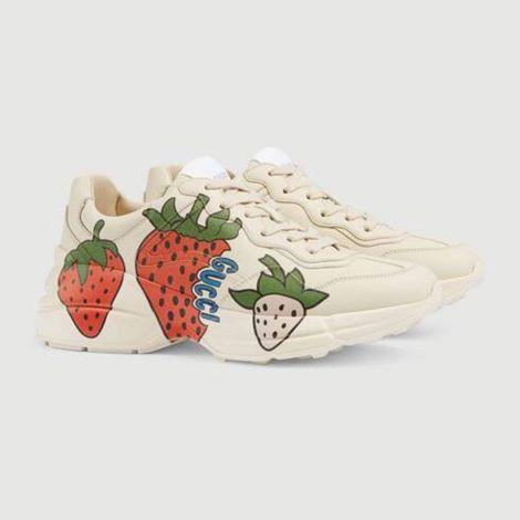 Gucci Ayakkabı Rhyton Beyaz - Gucci Ayakkabi Kadin 21 Rhyton Sneaker With Gucci Strawberry Beyaz