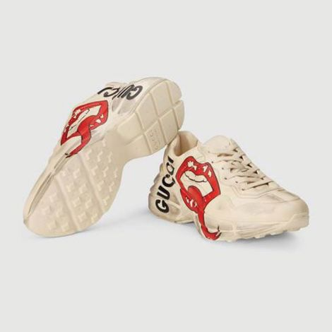 Gucci Ayakkabı Rhyton Mouth Beyaz - Gucci Ayakkabi Kadin 21 Rhyton Sneaker With Mouth Print Rubber Sole Beyaz