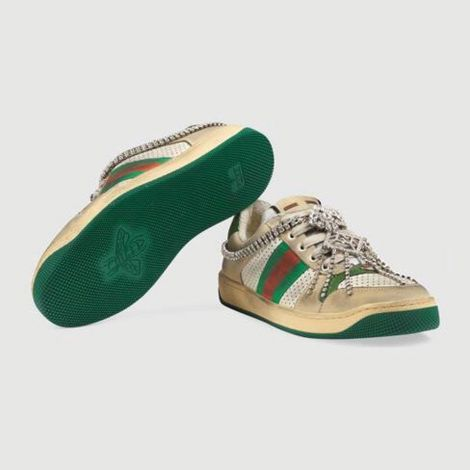 Gucci Ayakkabı Screener Yeşil - Gucci Ayakkabi Kadin 21 Screener Sneaker With Crystals Green Yesil