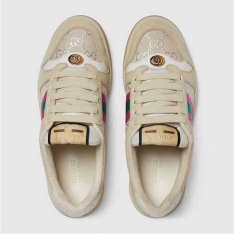 Gucci Ayakkabı Screener Bej - Gucci Ayakkabi Kadin 21 Screener Sneaker With Web Beige White Orange Bej