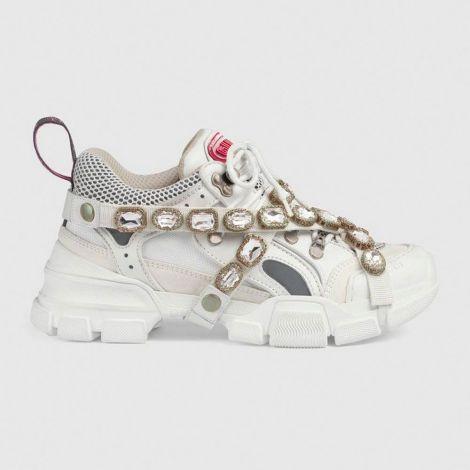 Gucci Ayakkabı Flashtrek Beyaz - Gucci Ayakkabi Kadin Flashtrek Sneaker With Removable Crystals Beyaz 2020