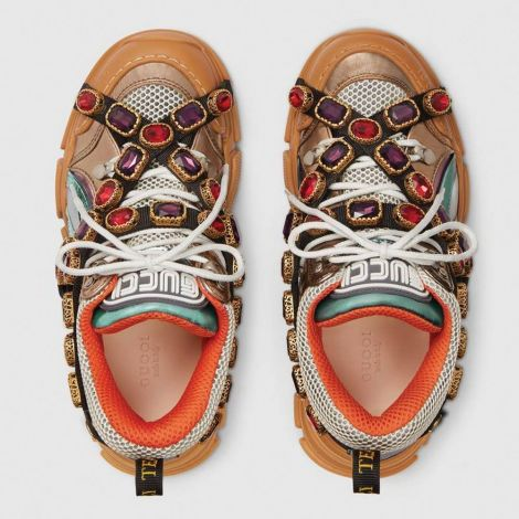 Gucci Ayakkabı Flashtrek Krem - Gucci Ayakkabi Kadin Flashtrek Sneaker With Removable Crystals Krem