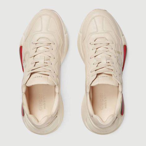 Gucci Ayakkabı Ace Leather Beyaz - Gucci Ayakkabi Rhyton Gucci Logo Leather Sneaker Beyaz