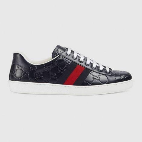 Gucci Ayakkabı Ace Signature Lacivert - Gucci Erkek Ayakkabi Ace Gucci Signature Sneaker Spor Lacivert