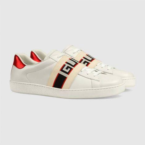 Gucci Ayakkabı Stripe Beyaz - Gucci Erkek Ayakkabi Gucci Stripe Leather Sneaker Kirmizi Beyaz