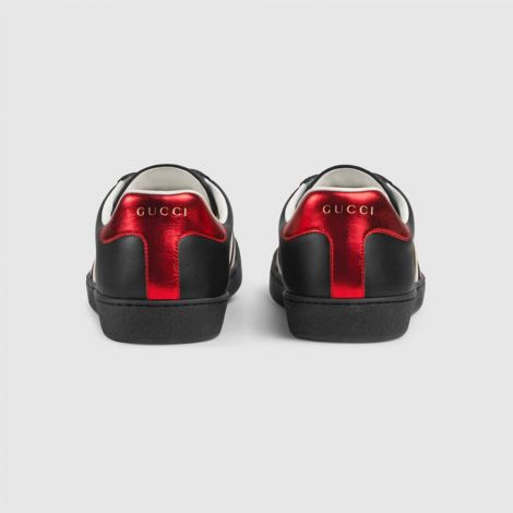 Gucci Ayakkabı Stripe Siyah - Gucci Erkek Ayakkabi Gucci Stripe Leather Sneaker Kirmizi Siyah