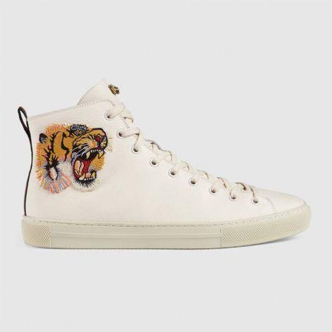 Gucci Ayakkabı Tiger Beyaz - Gucci Erkek Ayakkabi Leather High Top With Tiger Sneaker Beyaz