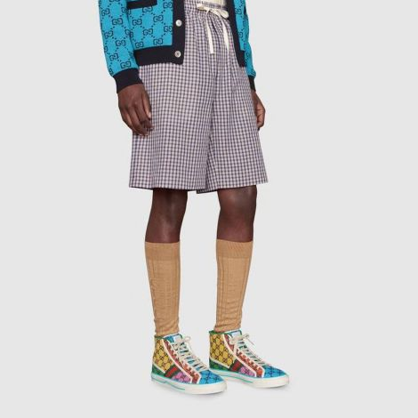 Gucci Ayakkabı Tennis 1977 Mavi - Gucci Erkek Ayakkabi Mens Gucci Tennis 1977 Gg Multicolor High Top Mavi