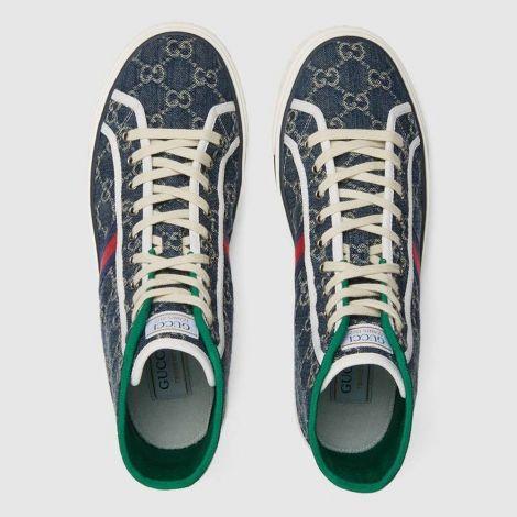 Gucci Ayakkabı Tennis 1977 Mavi - Gucci Erkek Ayakkabi Mens Gucci Tennis 1977 High Top Sneaker Blue Mavi