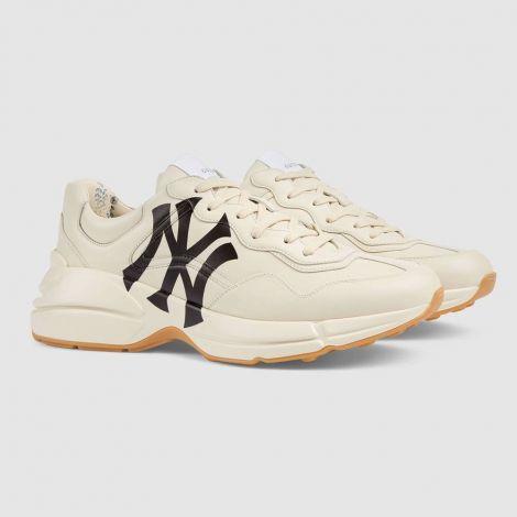 Gucci Ayakkabı Rhyton Beyaz - Gucci Erkek Ayakkabi Rhyton Sneaker With Ny Yankees Beyaz