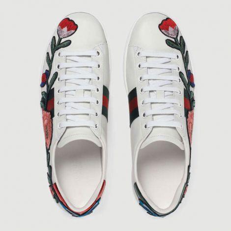 Gucci Ayakkabı Ace Rose Beyaz #Gucci #Ayakkabı #GucciAyakkabı #Kadın #GucciAce Rose #AceRose Gucci Kadin Ace Embroidered Sneaker Flowers Rose Beyaz