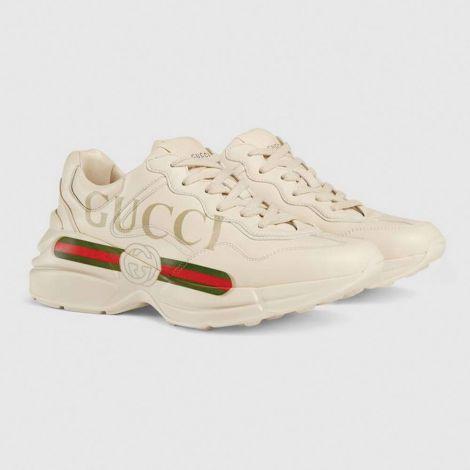 Gucci Ayakkabı Rhyton Beyaz - Gucci Kadin Ayakkabi 2020 Rhyton Gucci Logo Leather Sneaker Beyaz