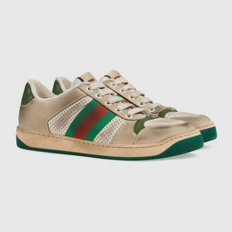 Gucci Ayakkabı Screener Bej - Gucci Kadin Ayakkabi 2020 Screener Leather Sneaker Bej