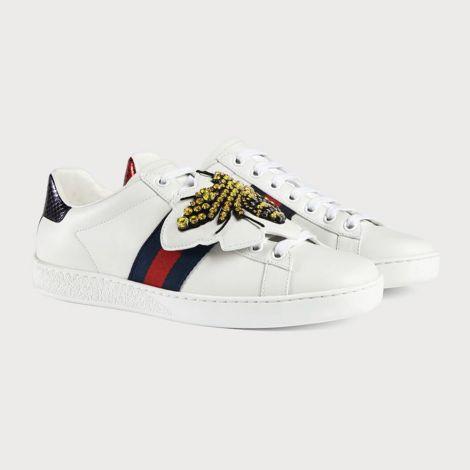 Gucci Ayakkabı Ace Bee Beyaz - Gucci Kadin Ayakkabi Ace Bee Patch Ari Beyaz