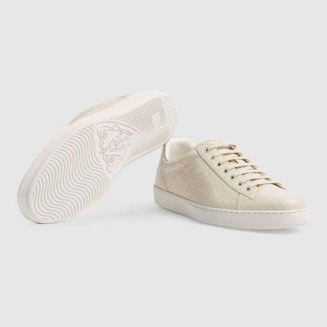 Gucci Ayakkabı Ace GG Embossed Beyaz - Gucci Men Shoes Mens Ace Gg Embossed Sneaker Ayakkabi Beyaz
