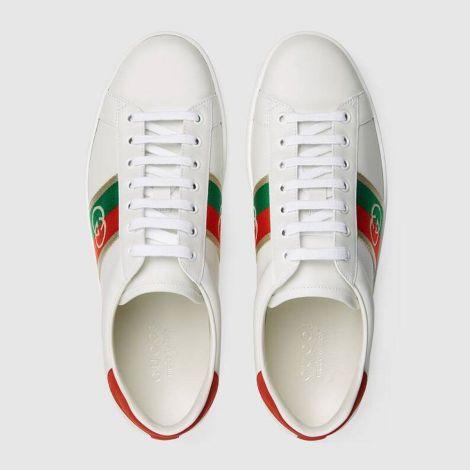 Gucci Ayakkabı Interlocking G Beyaz - Gucci Men Shoes Mens Ace Sneaker With Interlocking G Red Beyaz