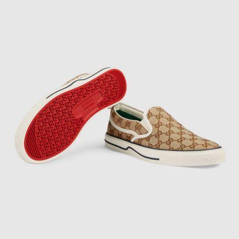 Gucci Ayakkabı Tennis 1977 Bej - Gucci Men Shoes Mens Gucci Tennis 1977 Slip On Sneaker Red Beige Bej