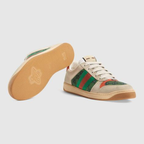 Gucci Ayakkabı Screener Beyaz - Gucci Men Shoes Mens Screener Gg Sneaker Green White Ivory Beyaz