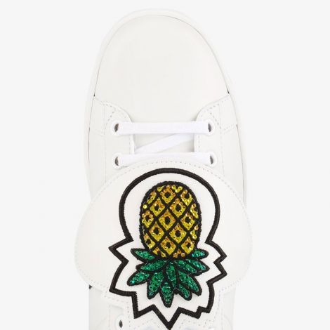 Gucci Ayakkabı Ace Pineapple Beyaz - Gucci White Ace Sneakers With Removable Patches