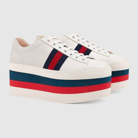 Gucci Ayakkabı Leather Beyaz - Gucci Womens Sneakers Leather Platform Sneaker