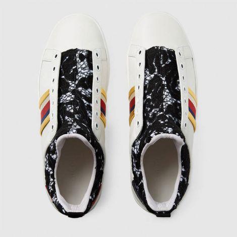 Gucci Ayakkabı Leather Beyaz - Leather And Lace High Top Sneaker Gucci Kadin Ayakkabi Beyaz