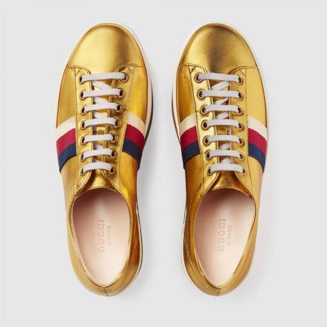 Gucci Ayakkabı Metallic Platform Sarı - Metallic Leather Platform Sneaker Kadin Ayakkabi Gucci Gold Sari