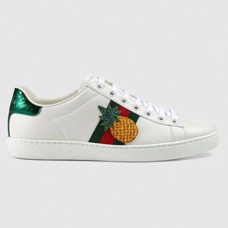 Gucci Ace Pineapple Ayakkabı Beyaz - 1 #Gucci #GucciAcePineapple #Ayakkabı