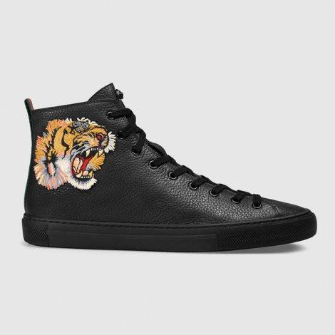 Gucci HighTop Tiger Ayakkabı Siyah - 14 #Gucci #GucciHighTopTiger #Ayakkabı