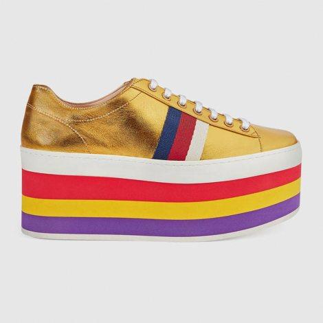 Gucci Metallic Platform Ayakkabı Sarı - 62 #Gucci #GucciMetallicPlatform #Ayakkabı