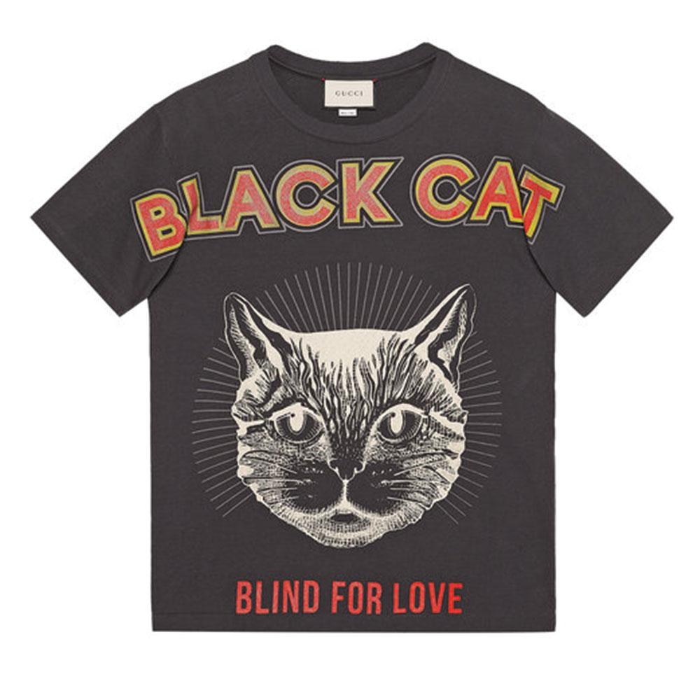 Gucci Black Cat Tişört Siyah - 107 #Gucci #GucciBlackCat #Tişört