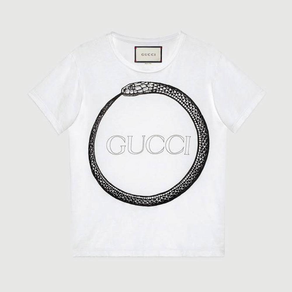 Gucci Ouroboros Tişört Beyaz - 104 #Gucci #GucciOuroboros #Tişört