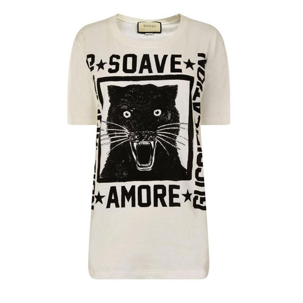 Gucci Panther Tişört Beyaz - 65 #Gucci #GucciPanther #Tişört