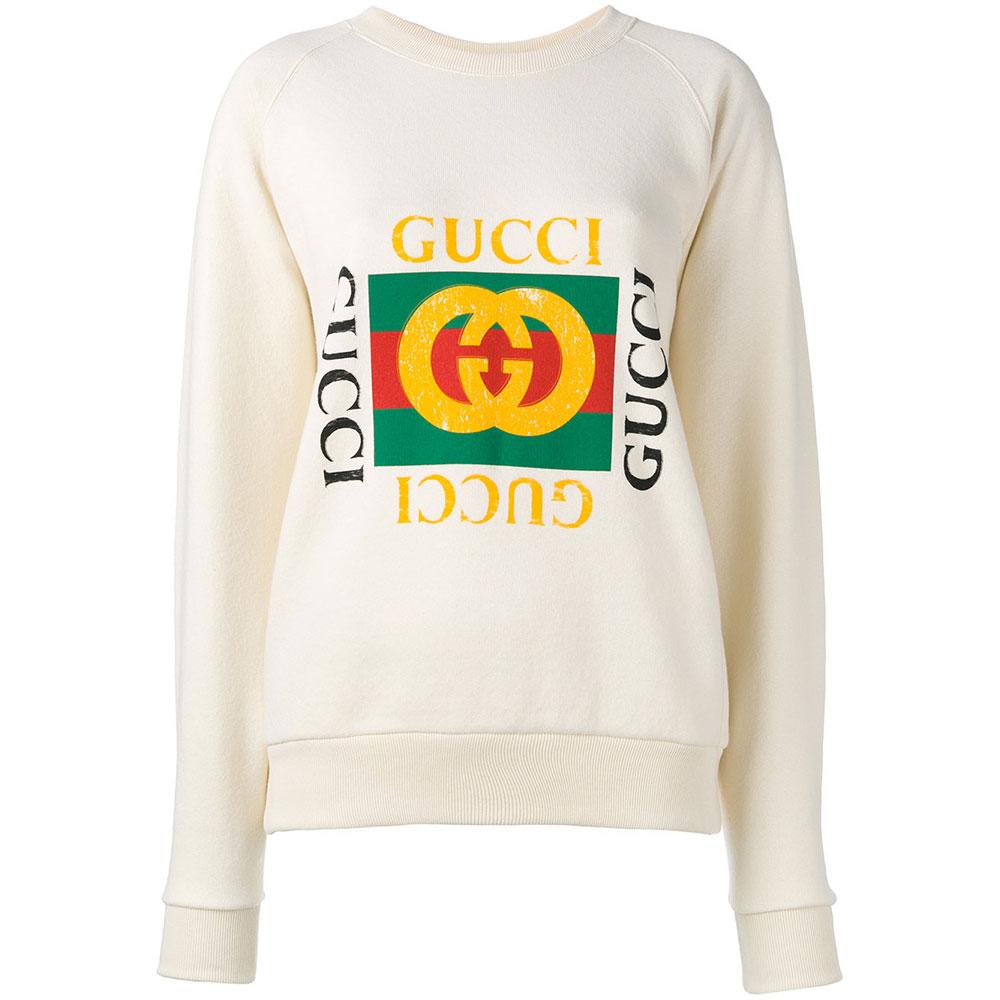 Gucci Print Sweatshirt Beyaz - 14 #Gucci #GucciPrint #Sweatshirt