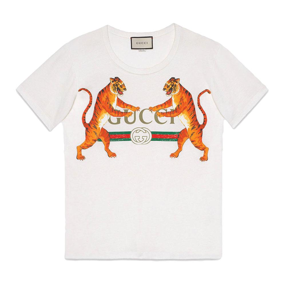 Gucci Tigers Tişört Beyaz - 50 #Gucci #GucciTigers #Tişört