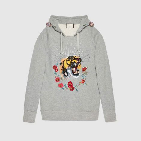 Gucci Sweatshirt Embroidered Gri #Gucci #Sweatshirt #GucciSweatshirt #Kadın #GucciEmbroidered #Embroidered