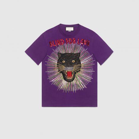 Gucci Tişört Panther Mor #Gucci #Tişört #GucciTişört #Kadın #GucciPanther #Panther