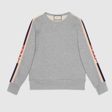 Gucci Sweatshirt Stripe Gri #Gucci #Sweatshirt #GucciSweatshirt #Erkek #GucciStripe #Stripe