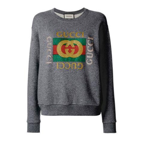 Gucci Sweatshirt Logo Gri #Gucci #Sweatshirt #GucciSweatshirt #Erkek #GucciLogo #Logo
