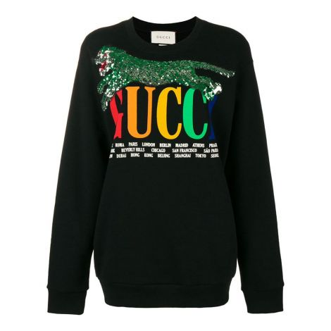 Gucci Sweatshirt Cities Siyah #Gucci #Sweatshirt #GucciSweatshirt #Kadın #GucciCities #Cities