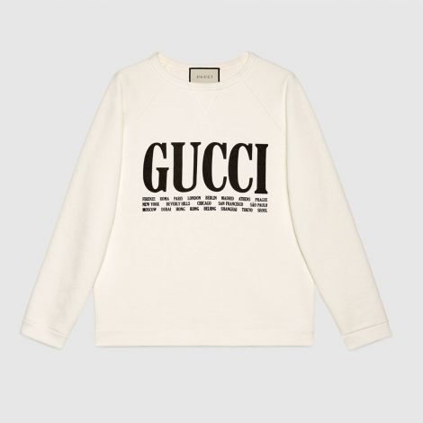 Gucci Sweatshirt Cities Beyaz #Gucci #Sweatshirt #GucciSweatshirt #Kadın #GucciCities #Cities