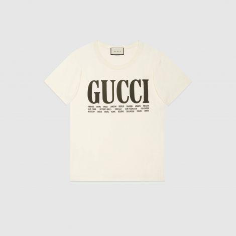 Gucci Tişört Cities Beyaz #Gucci #Tişört #GucciTişört #Kadın #GucciCities #Cities
