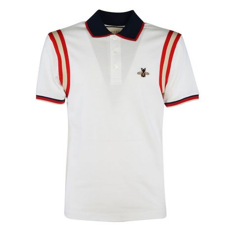 Gucci Tişört Polo Bee Beyaz - Gucci Tisort Polo Bee Stripe T Shirt Beyaz